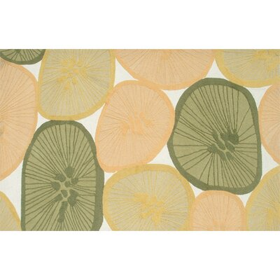 Durand Hand-Hooked Yellow/Green Indoor/Outdoor Area Rug Rug Size: 76 x 96
