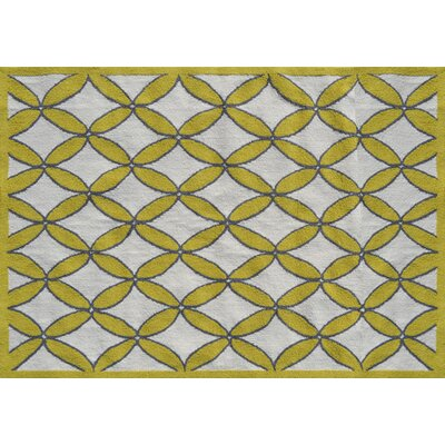 Fischer Hand-Hooked Yellow/Gray Area Rug Rug Size: Rectangle 5 x 7