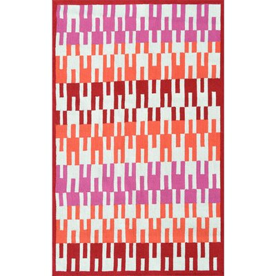 Deanna Hand-Hooked Red Indoor/Outdoor Area Rug Rug Size: Rectangle 76 x 96