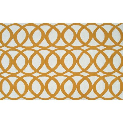 Alexandra Hand-Hooked Yellow/White Indoor/Outdoor Area Rug Rug Size: Rectangle 5 x 76