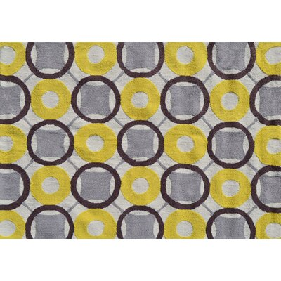 Simone Hand-Hooked Yellow Area Rug Rug Size: Rectangle 5 x 7