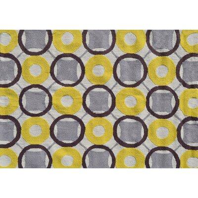 Simone Hand-Hooked Yellow Area Rug Rug Size: 5 x 7