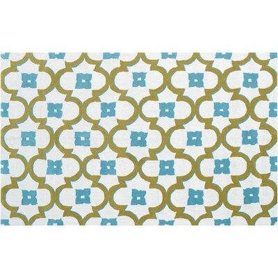 Newstead Hand-Hooked Blue/Green Indoor/Outdoor Area Rug Rug Size: Rectangle 5 x 76
