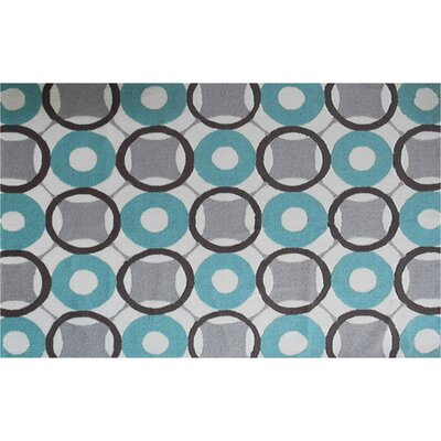 Vienna Hand-Hooked Blue/Grey Area Rug Rug Size: Rectangle 5 x 7
