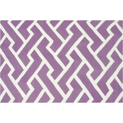 Horton Hand-Hooked Purple Indoor/Outdoor Area Rug Rug Size: Rectangle 76 x 96