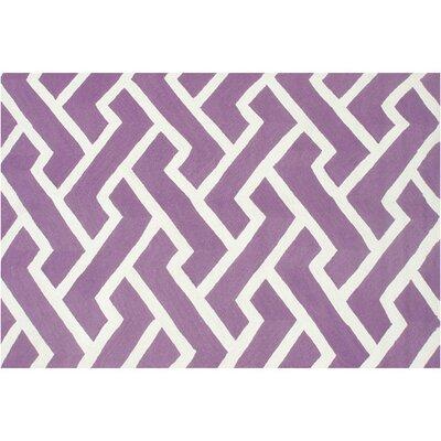 Horton Hand-Hooked Purple Indoor/Outdoor Area Rug Rug Size: 76 x 96