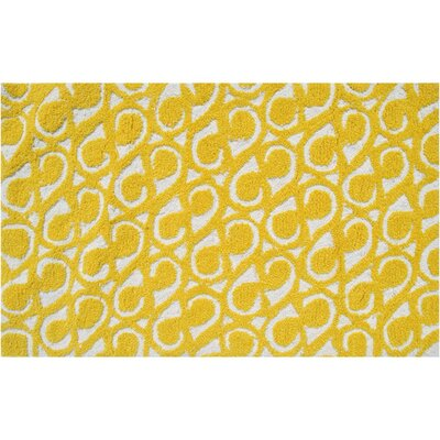 Morgan Hand-Hooked Yellow Area Rug Rug Size: 5 x 7