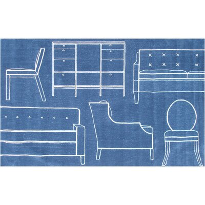 Flacq Hand-Tufted Blue Area Rug Rug Size: 5 x 76