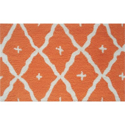 Kathleen Hand-Hooked Orange Area Rug Rug Size: Rectangle 7 x 10