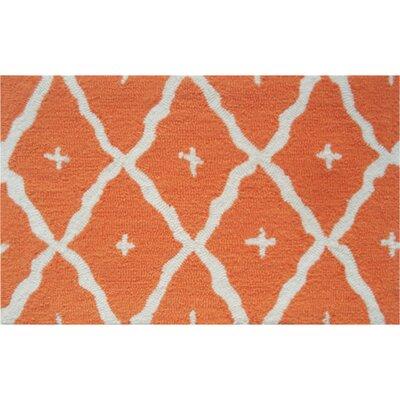 Kathleen Hand-Hooked Orange Area Rug Rug Size: 7 x 10