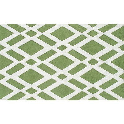 Stratton Hand-Hooked Green/Cream Indoor/Outdoor Area Rug Rug Size: 8 x 10