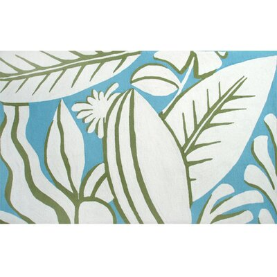 Thelma Hand-Hooked Blue/White Area Rug Rug Size: 8 x 10