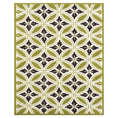 Plymouth Hand-Hooked Green/Ivory Indoor/Outdoor Area Rug Rug Size: Rectangle 5 x 8
