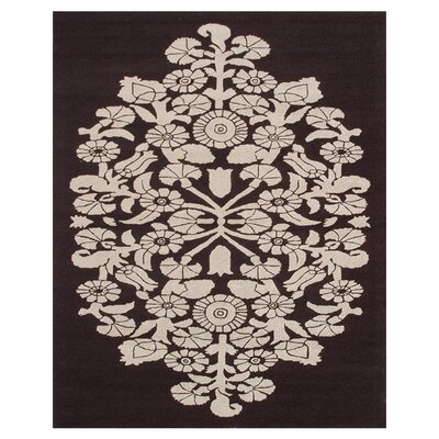 Roches Hand-Hooked Brown/Cream Indoor/Outdoor Area Rug Rug Size: 5 x 8
