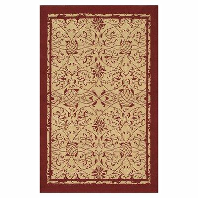Merion Hand-Hooked Red/Khaki Indoor/Outdoor Area Rug Rug Size: 76 x 96