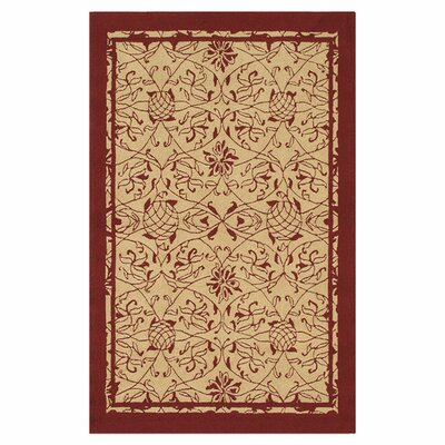 Merion Hand-Hooked Red/Khaki Indoor/Outdoor Area Rug Rug Size: 5 x 7