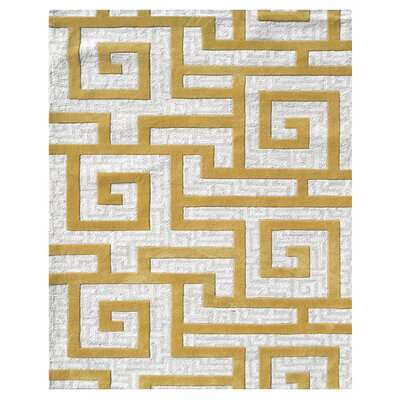 Julien Hand-Tufted Gold/Cream Area Rug Rug Size: 5 x 8