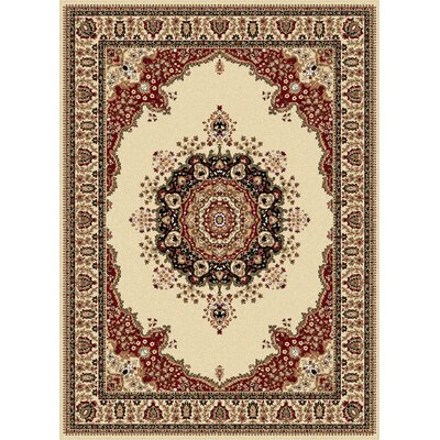 Mille Ivory/Red Area Rug Rug Size: 7'10