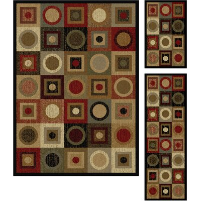 Colette Geometric Red/Brown Area Rug Rug Size: 3 Piece Set