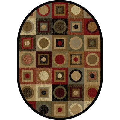 Colette Geometric Red/Brown Area Rug Rug Size: Oval 53 x 73