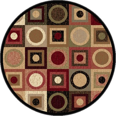Colette Geometric Red/Brown Area Rug Rug Size: Round 53