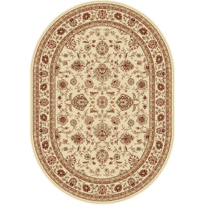 Laplant Beige Area Rug Rug Size: Oval 53 x 73