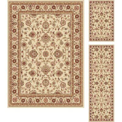 Troxell Beige Area Rug Rug Size: 3 Piece Set