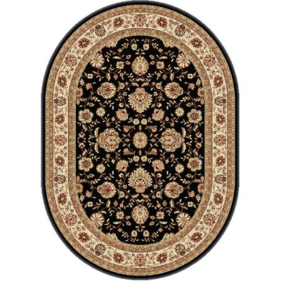 Laplant Black Area Rug Rug Size: Oval 53 x 73