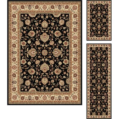 Laplant Black Area Rug Rug Size: Rectangle 3 Piece Set