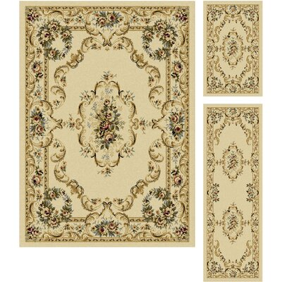 Grange Beige 3 Piece Area Rug Set Rug Size: Rectangle 5 x 7