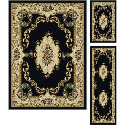 Colesville Charcoal 3 Piece Area Rug Set Rug Size: 5 x 7