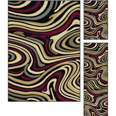 Willsbridge Red/Brown 3 Piece Area Rug Set Rug Size: Rectangle 5 x 7