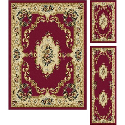 Colesville 3 Piece Red Area Rug Set Rug Size: 5 x 7