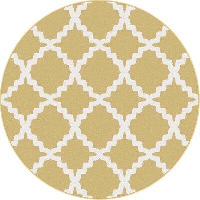 Ellicott Yellow Area Rug Rug Size: Round 53