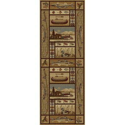 Justine Ivory/Brown Area Rug Rug Size: Runner 3 x 8