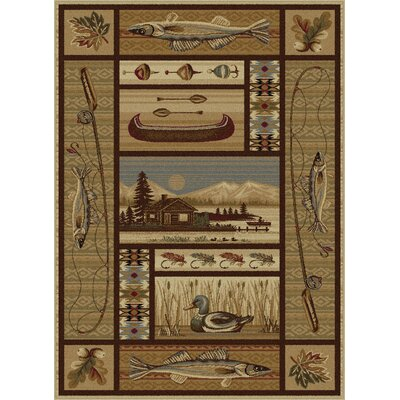 Justine Ivory/Brown Area Rug Rug Size: Rectangle 8 x 11