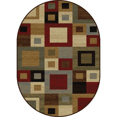 Colette Contemporary Red/Brown Area Rug Rug Size: Oval 53 x 73