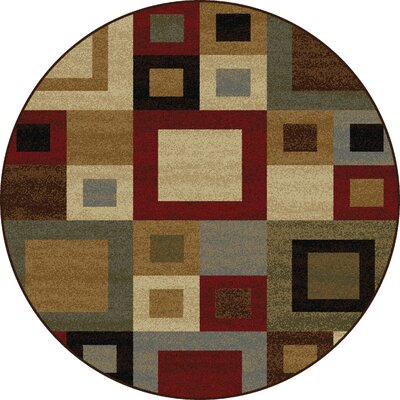Colette Contemporary Red/Brown Area Rug Rug Size: Round 53