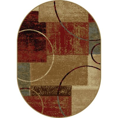 Colette Abstract Red/Brown Area Rug Rug Size: Oval 53 x 73