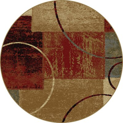 Colette Abstract Red/Brown Area Rug Rug Size: Round 53