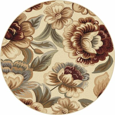 Barbarra Ivory Area Rug Rug Size: Round 53