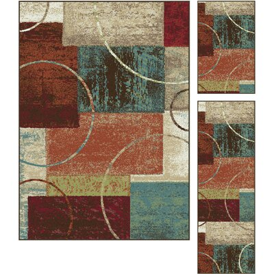 Weishaar Gray/Red 3 Piece Area Rug Set