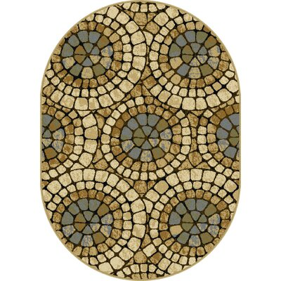 Crawford Beige Area Rug Rug Size: Oval 53 x 73