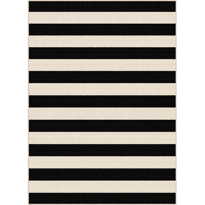 Martinique Black/Cream Indoor/Outdoor Area Rug Rug Size: Rectangle 53 x 73
