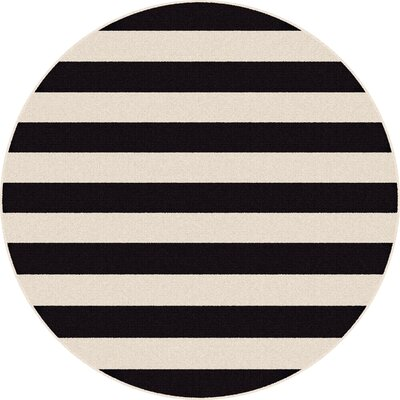 Martinique Black/Cream Indoor/Outdoor Area Rug Rug Size: Round 710