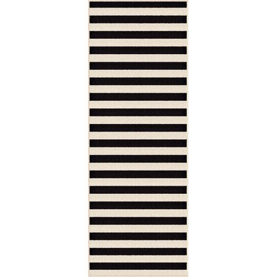 Martinique Black/Cream Indoor/Outdoor Area Rug Rug Size: Runner 27 x 73