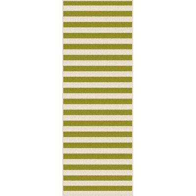 Martinique Green/Cream Indoor/Outdoor Area Rug Rug Size: Runner 27 x 73