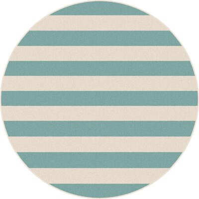 Martinique Aqua/Cream Indoor/Outdoor Area Rug Rug Size: Round 710