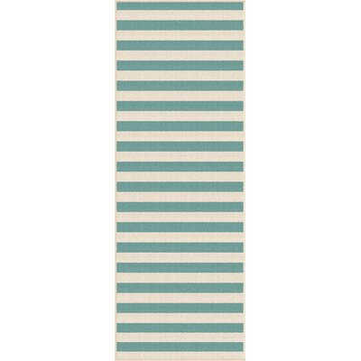 Martinique Aqua/Cream Indoor/Outdoor Area Rug Rug Size: Runner 27 x 73