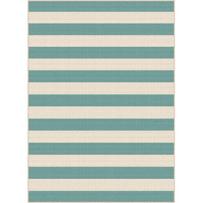 Martinique Aqua/Cream Indoor/Outdoor Area Rug Rug Size: Rectangle 53 x 73